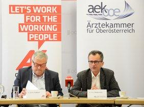 AK-Präsident Dr. Kalliauer und ÄK-Präsident Dr. Niedermoser bei der gemeinsamen Pressekonferenz.